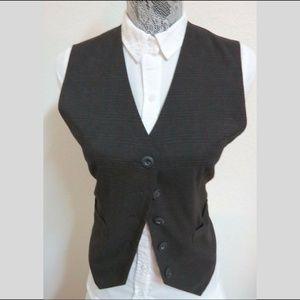 Sz M Gray Plaid Womens Polyester #01S Suit Vest